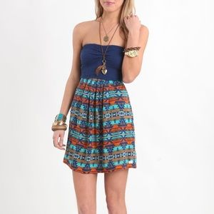 Billabong Strapless Tribal Print Dress w/ Pockets